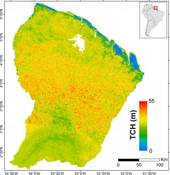 Biomasse forestière et hauteur de la canopée Guyanaise